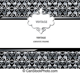 Vector damask pattern and frame. Easy to scale and edit