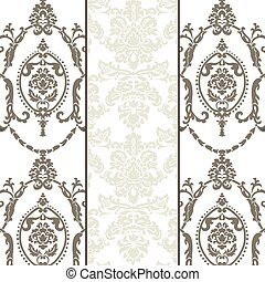 Vector damask ornament pattern set
