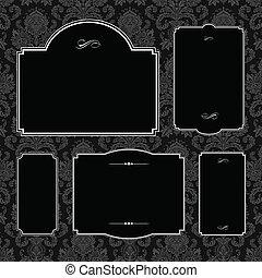 Vector Damask Pattern and Black Frame Set