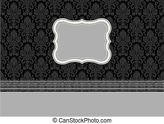 Vector Damask Pattern and Small Frame