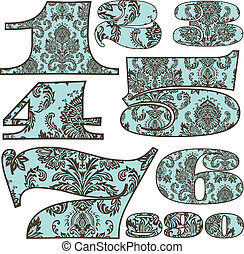 Vector Damask Pattern Number Set