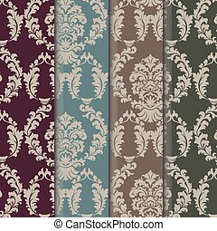 Vector damask pattern ornament set