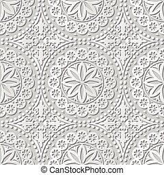 Vector damask seamless 3D paper art Round Dot Flower Lace