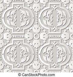 Vector damask seamless 3D paper art Round Dot Flower