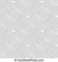 Vector damask seamless 3D paper art round cross dot line flower