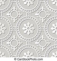 Vector damask seamless 3D paper art Round Dot Cross Flower