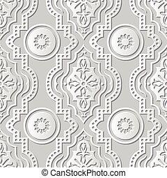 Vector damask seamless 3D paper art Round Dot Line Flower