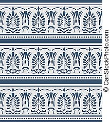 Vector damask seamless pattern background blue curve cross fan shape leaf dot line