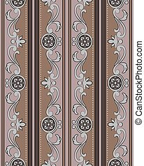 Vector damask seamless pattern background brown spiral curve frame round flower dot line