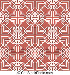 Vector damask seamless pattern background polygon square check geometry cross frame line