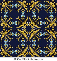 Vector damask seamless pattern background round curve cross dot line gold leaf blue flower