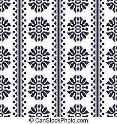 Vector damask seamless pattern background spiral curve round cross flower tirangle dot line