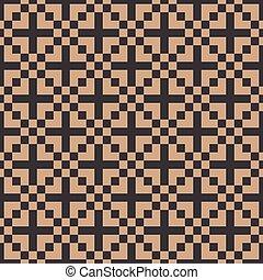 Vector damask seamless retro pattern background geometry square mosaic pixel cross kaleidoscope