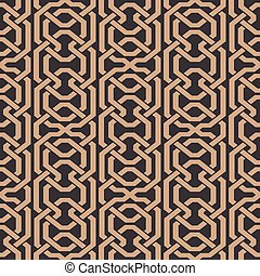 Vector damask seamless retro pattern background polygon geometry cross frame chain