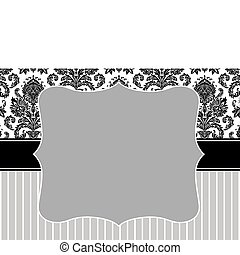 Vector Damask Stripe Frame - Vector decorative frame. Easy...