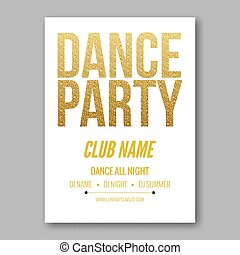 Vector dance party flyer golden style template