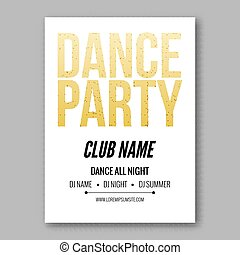 Vector dance party flyer golden style template.