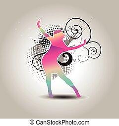 vector dancing girl
