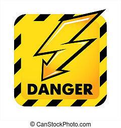 Vector danger button - Yellow dangerous button isolated on...