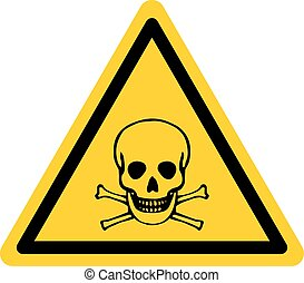 Vector danger sign with skull and bones