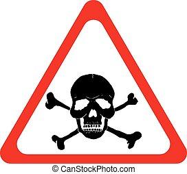 Vector danger sign with skull and crossbones