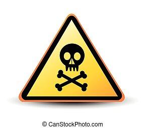 vector danger sign with skull