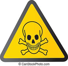 vector danger sign with skull symbo