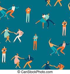 vector., danse, modèle, gens, seamless, couples, caractères, dessin animé, illustration.