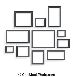 Vector Dark Blank Frames Collection on Wall with Transparent...