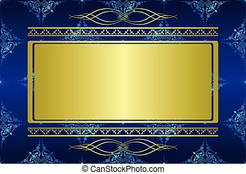 blue card with golden decorations