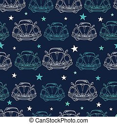 Vector Dark Blue Vintage Cars Stars Drawing Seamless...