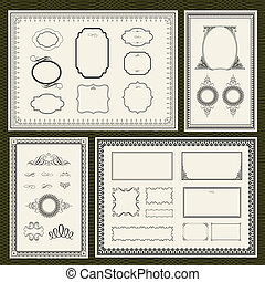 Vector Dark Frame and Ornament Set