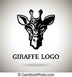 Vector dark giraffe head, template for logo, badge, label etc.