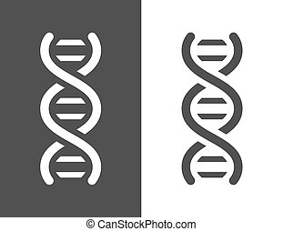 Vector dark grey dna helix icon, with a simple modern look