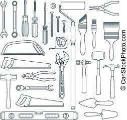 vector dark grey outline various house remodel instruments set