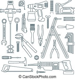 vector dark grey outline various house repair tools...