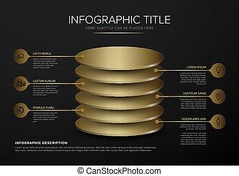 Vector dark Infographic round golden layers desks template
