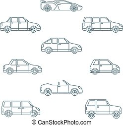 vector dark outline body types cars classification icons set...