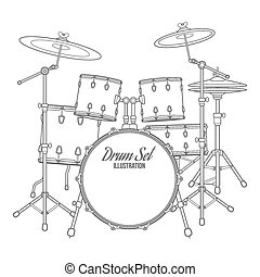 vector dark outline drum set on white background bass...