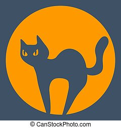 Vector dark silhouette of a halloween cat and moon