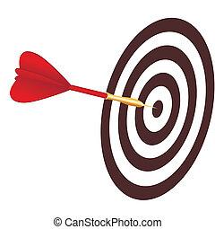 Vector dart hitting a target