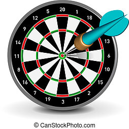 Dartboard with Dart - Vector Dartboard with Dart on white...