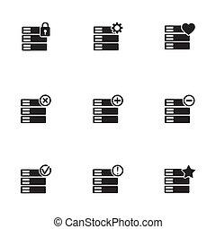 vector, databank, set, black , iconen