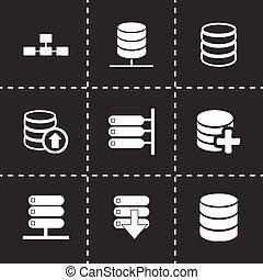 Vector database icon set on black background