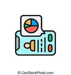 Vector database, presentation on smartphone flat color line icon.