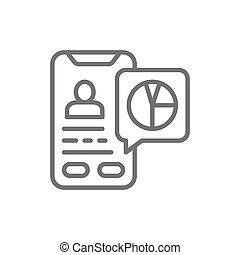 Vector database, presentation on smartphone line icon.