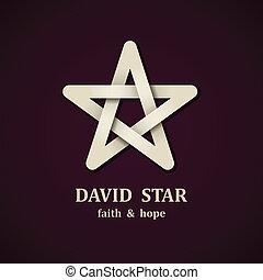 vector, david, estrella, símbolo, diseño, plantilla