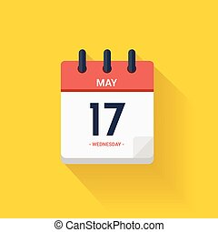 Vector Day calendar with date May 17, 2017.