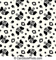 Vector day of the dead bat bunny pattern.