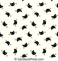 Vector day of the dead black cat pattern.